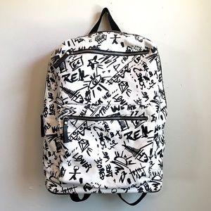 Zara Men Graffiti Black/White Canvas Backpack
